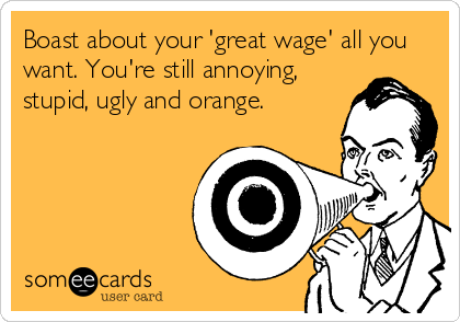 Boast about your 'great wage' all you want. You're still annoying, stupid, ugly and orange.