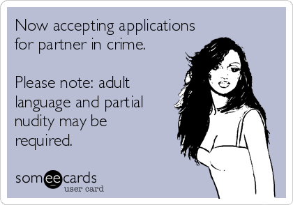 Now accepting applications for partner in crime.  Please note: adult language and partial nudity may be  required.