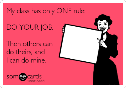 My class has only ONE rule:  DO YOUR JOB.  Then others can do theirs, and  I can do mine.