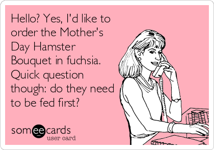 Hello? Yes, I'd like to order the Mother's Day Hamster Bouquet in fuchsia. Quick question though: do they need to be fed first?