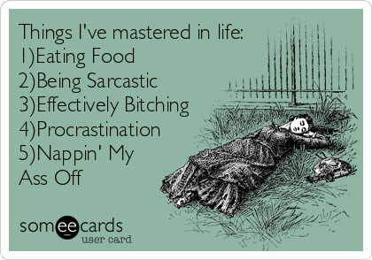 Things I've mastered in life: 1)Eating Food 2)Being Sarcastic 3)Effectively Bitching 4)Procrastination 5)Nappin' My Ass Off