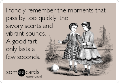 I fondly remember the moments that pass by too quickly, the savory scents and vibrant sounds. A good fart only lasts a few seconds.
