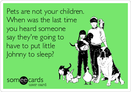 Pets are not your children. When was the last time you heard someone say they're going to have to put little Johnny to sleep?