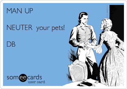MAN UP  NEUTER  your pets!  DB