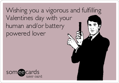 Wishing you a vigorous and fulfilling Valentines day with your human and/or battery powered lover