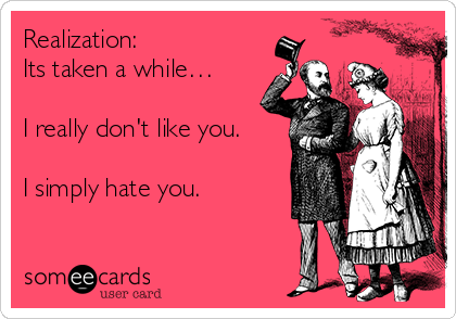 Realization: Its taken a while…  I really don't like you.  I simply hate you.