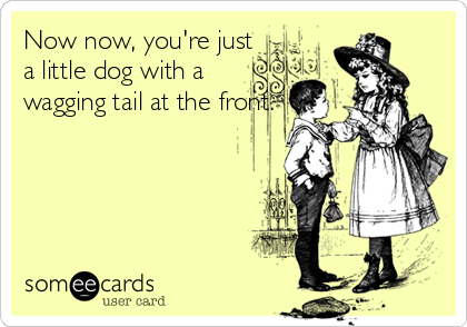 Now now, you're just a little dog with a wagging tail at the front.