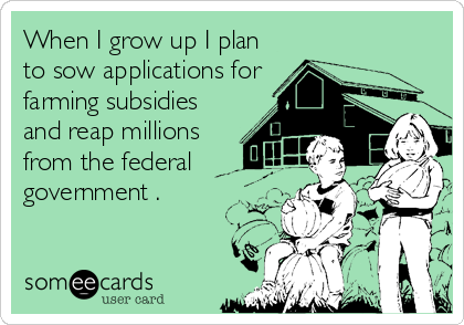 When I grow up I plan to sow applications for farming subsidies and reap millions from the federal government .