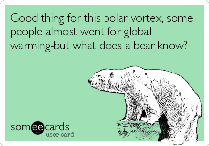 Good thing for this polar vortex, some people almost went for global warming-but what does a bear know?