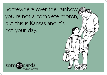 Somewhere over the rainbow you're not a complete moron, but this is Kansas and it's not your day.
