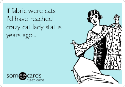 If fabric were cats,  I'd have reached  crazy cat lady status years ago...