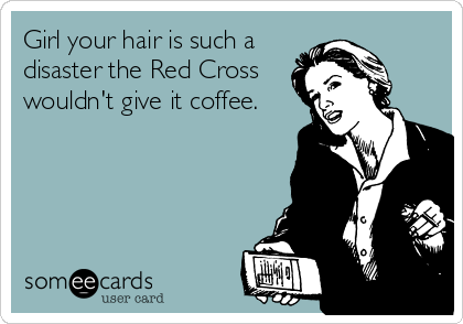 Girl your hair is such a disaster the Red Cross wouldn't give it coffee.