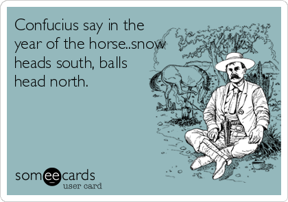 Confucius say in the year of the horse..snow heads south, balls head north.