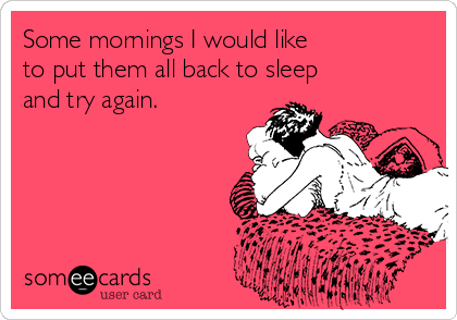 Some mornings I would like  to put them all back to sleep  and try again.