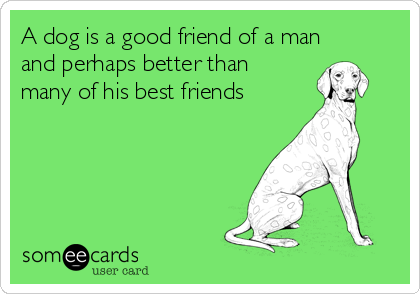 A dog is a good friend of a man and perhaps better than many of his