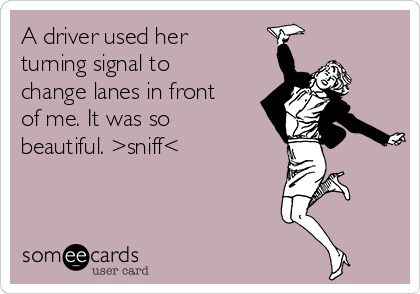 A driver used her turning signal to change lanes in front of me. It was so beautiful. >sniff<