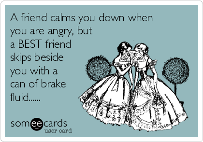 A friend calms you down when you are angry, but a BEST friend skips beside you with a can of brake fluid......