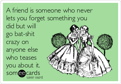 A friend is someone who never lets you forget something you did but will go bat-shit crazy on anyone else who teases you about it.