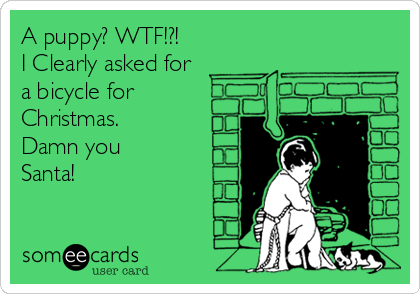 A puppy? WTF!?! I Clearly asked for a bicycle for Christmas. Damn you Santa!