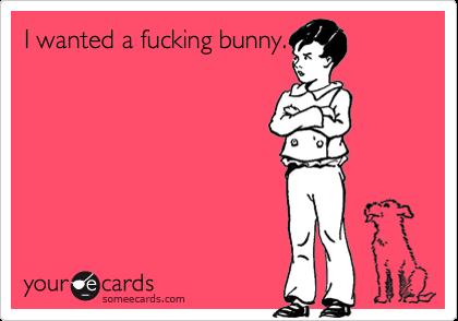 I wanted a fucking bunny.