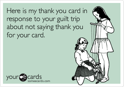 Here is my thank you card in