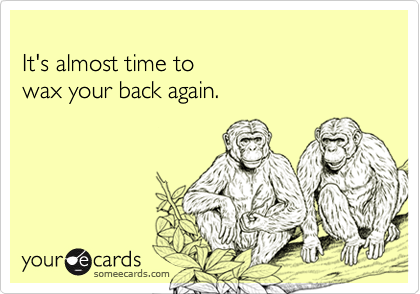 It's almost time to wax your back again.