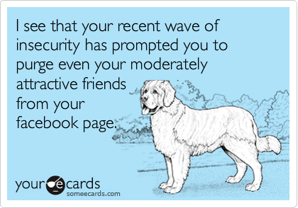 I see that your recent wave of insecurity has prompted you to purge even your moderately attractive friendsfrom yourfacebook page.