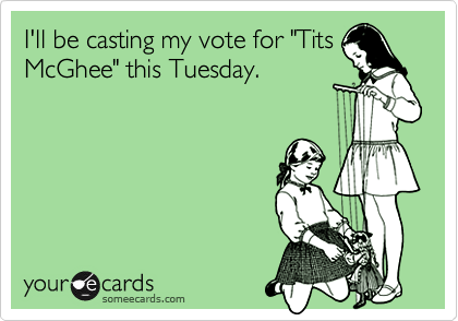 "I'll be casting my vote for ""Tits