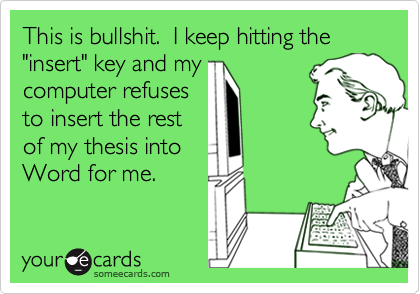 "This is bullshit.  I keep hitting the ""insert"" key and my