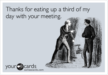 Thanks for eating up a third of my day with your meeting.