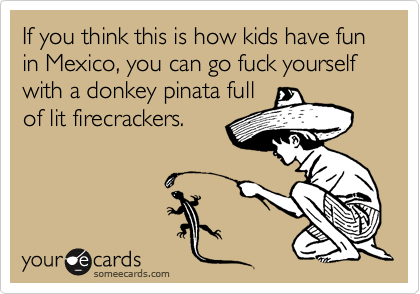If you think this is how kids have fun in Mexico, you can go fuck yourself with a donkey pinata full of lit firecrackers.