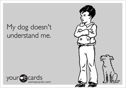 My dog doesn'tunderstand me.
