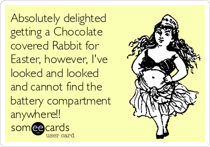 Absolutely delighted getting a Chocolate covered Rabbit for Easter, however, I've looked and looked and cannot find the battery compartment anywhere!!