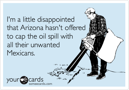 I'm a little disappointed that Arizona hasn't offered to cap the oil spill with all their unwanted Mexicans.