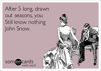 After 5 long, drawn out seasons, you Still know nothing John Snow.