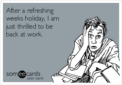 After a refreshing weeks holiday, I am just thrilled to be back at work.