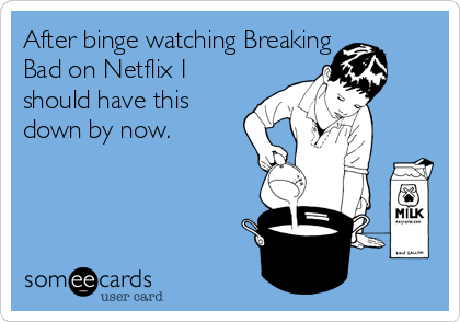 After binge watching Breaking Bad on Netflix I should have this down by now.