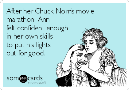 After her Chuck Norris movie marathon, Ann felt confident enough in her own skills to put his lights out for good.