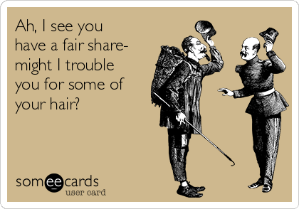 Ah, I see you have a fair share- might I trouble you for some of your hair?