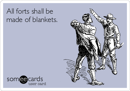 All forts shall be made of blankets.
