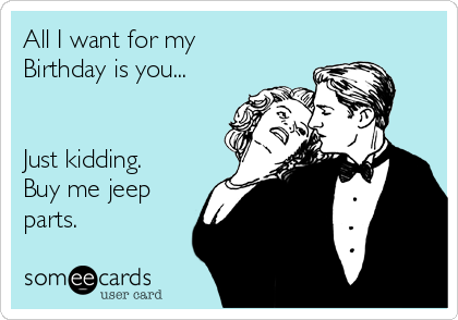 All I want for my Birthday is you...   Just kidding. Buy me jeep parts.