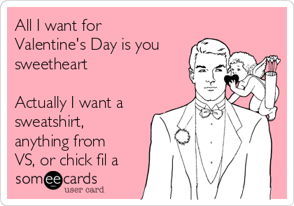 All I want for Valentine's Day is you sweetheart  Actually I want a sweatshirt, anything from VS, or chick fil a