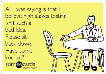All I was saying is that I believe high stakes testing isn't such a bad idea. Please sit back down. Have some koolaid?