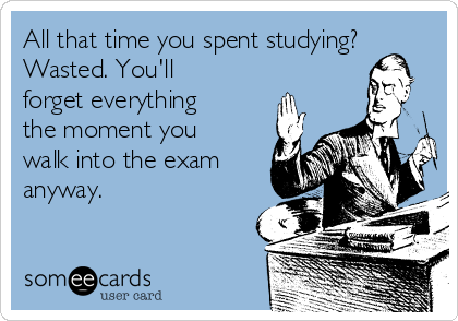 All that time you spent studying? Wasted. You'll forget everything the moment you walk into the exam anyway.
