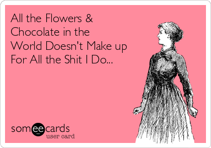 All the Flowers & Chocolate in the  World Doesn't Make up  For All the Shit I Do...