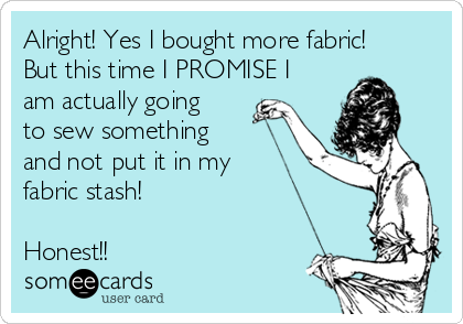 Alright! Yes I bought more fabric! But this time I PROMISE I am actually going to sew something and not put it in my fabric stash!   Honest!!