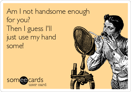 Am I not handsome enough for you? Then I guess I'll just use my hand some!