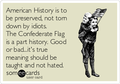 American History is to be preserved, not torn down by idiots. The Confederate Flag is a part history. Good or bad...it's true meaning should be taught and not hated.