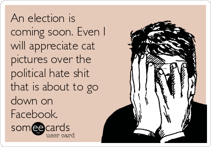 An election is coming soon. Even I will appreciate cat pictures over the political hate shit that is about to go down on Facebook.