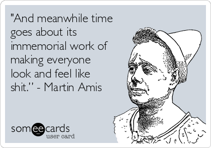 """""""And meanwhile time goes about its immemorial work of making everyone look and feel like shit."""" - Martin Amis"""